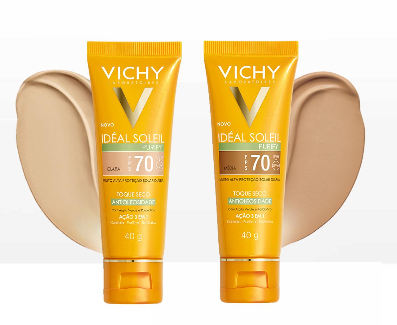Protetor Solar Facial Com Cor Vichy Ideal Soleil Purify FPS70