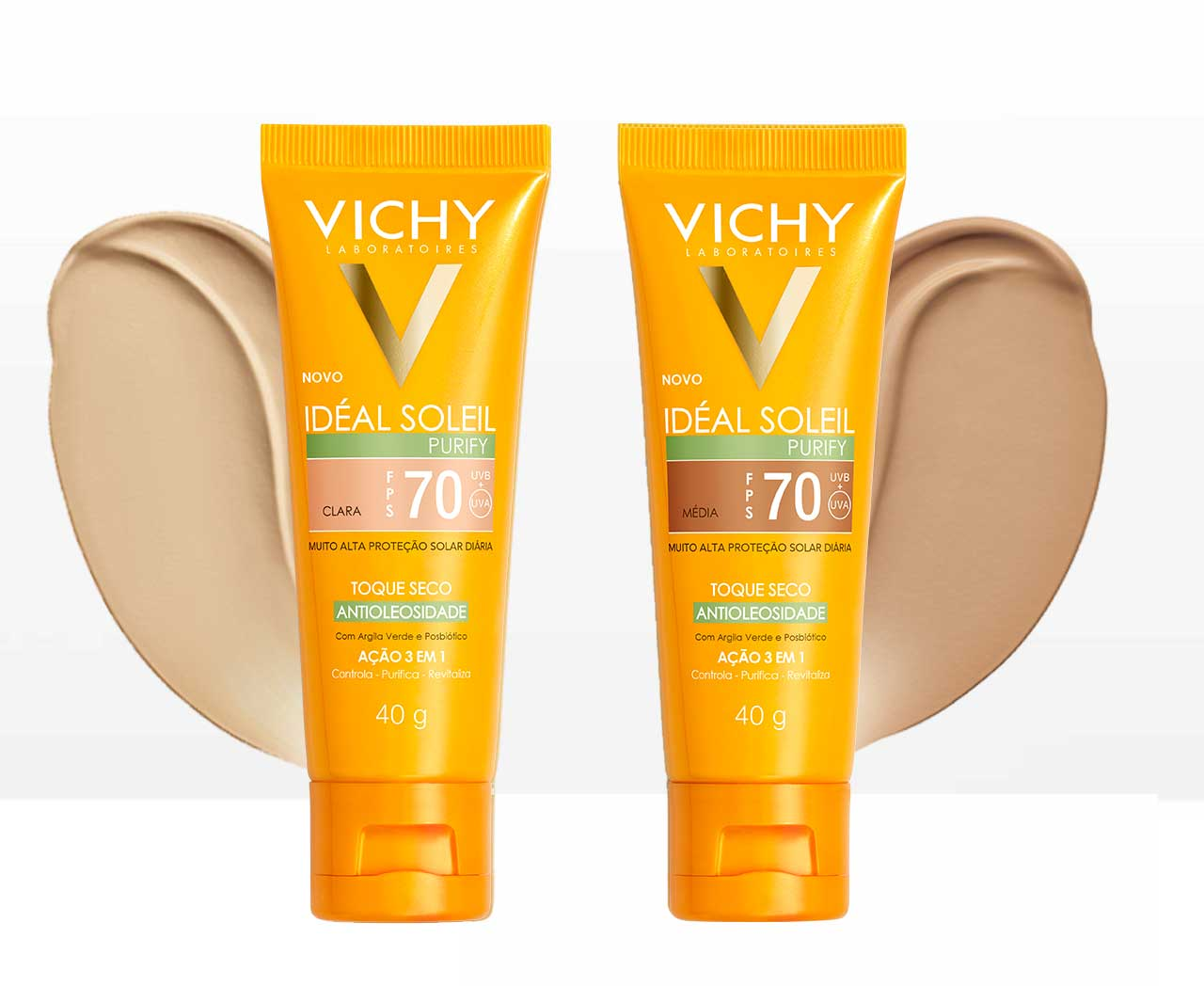 Protetor Solar Facial Com Cor Vichy Ideal Soleil Purify FPS70